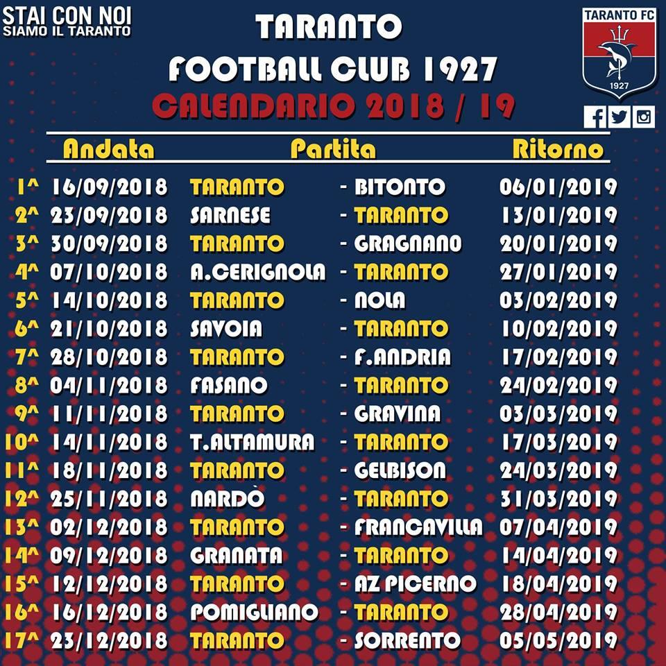 Calendario Serie D Girone H.Serie D Gir H 2018 19 Ecco Il Calendario Del Taranto
