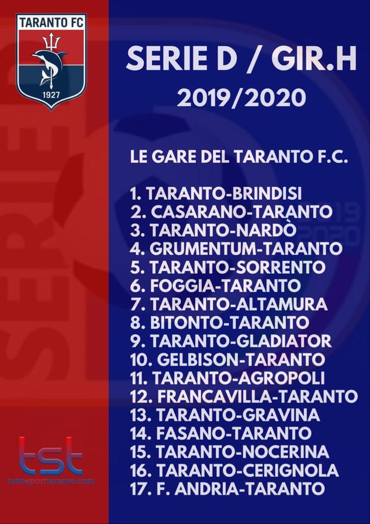 Calendario Eccellenza Pugliese.Taranto Ecco Il Calendario Completo Della Stagione Di Serie