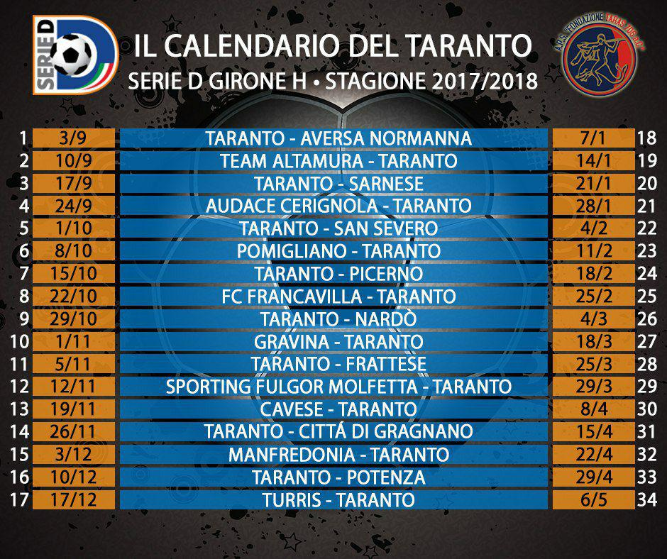 Serie D Girone D Calendario.Calendari Tutte Le Gare Del Taranto Fc