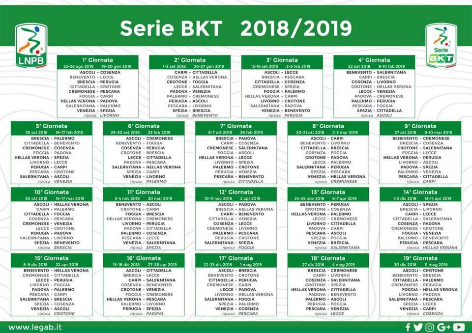 Tutto Il Calendario Serie A.Serie B Ufficiale Si Parte Con 19 Squadre Il Calendario