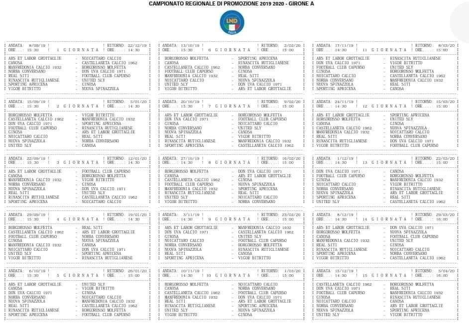 Calendario Eccellenza Pugliese.Promozione Puglia Il Calendario Completo 2019 20 Del Girone A