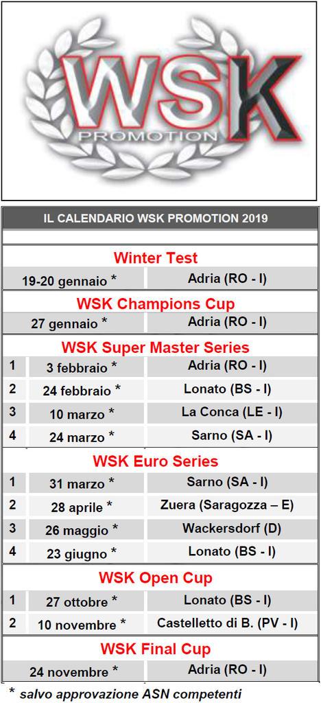 Calendario Castelletto Di Branduzzo.Kart Definito Il Calendario 2019 Del Karting Di Wsk Promotion