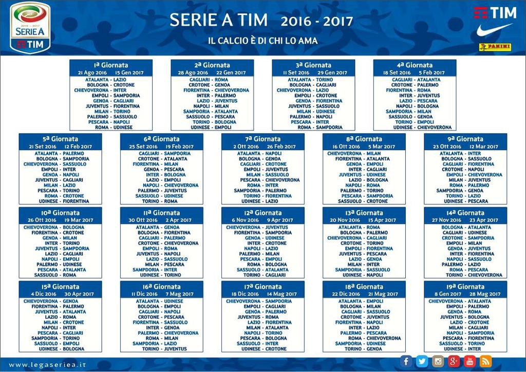 Serie A Calendario Inter.Serie A Varato Il Calendario 2016 2017
