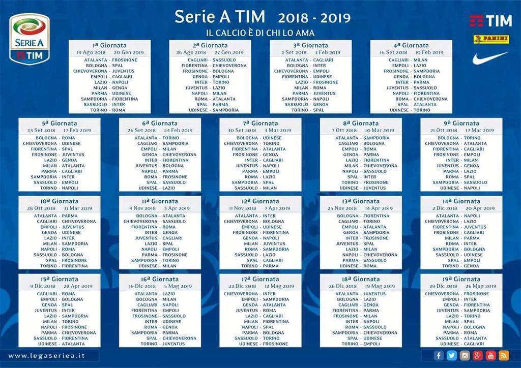 Calendario Serie A Sampdoria.Foto Serie A Il Calendario Della Stagione 2018 19