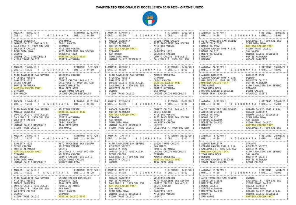 Calendario Eccellenza.Eccellenza Puglia Calendario Ecco Il Cammino Del Martina