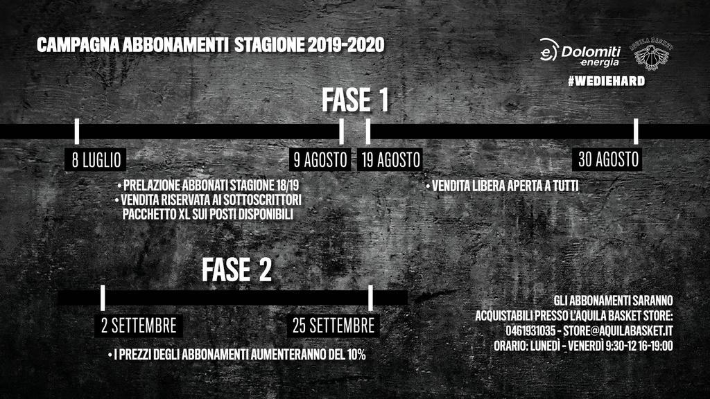 Calendario Playoff Basket 2020.Abbonamenti 2019 20 Aquila Basket Trento 2013 S R L