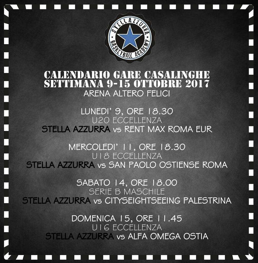 Calendario Serie A 15 Ottobre.Il Calendario Settimanale Delle Gare Casalinghe Delle