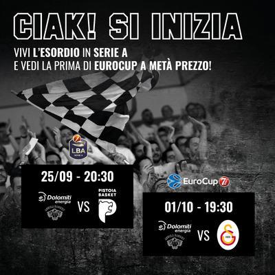 """""""Ciak, si inizia"""": le prime in Serie A ed EuroCup ad un prezzo speciale"""