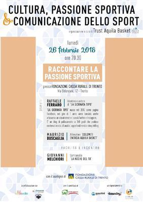 """Lunedì 26 l'evento Trust """"Raccontare la passione sportiva"""""""