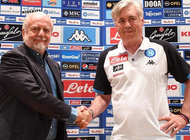 De Laurentiis e Ancelotti dopo la conferenza stampa, foto: SscNapoli.it