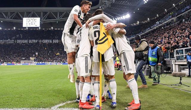 L'esultanza dei bianconeri in Juventus-Valencia, foto: Uefa.com