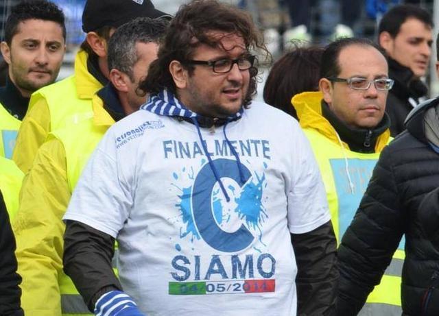 Il patron Columella nel giorno del ritorno in Serie C, foto: Sandro Veglia