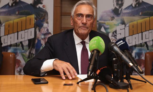 Il presidente della Figc Gabriele Gravina in conferenza stampa, foto: Figc.it