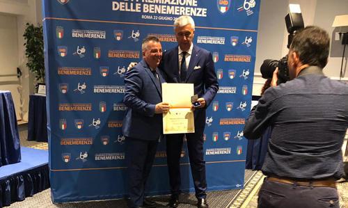 Giovanni Milone col presidente LND Cosimo Sibilia