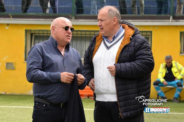 Massimo Giove (a sx), presidente del Taranto, con il dg Gino Montella