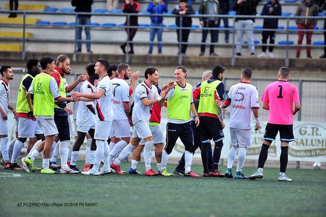 L'esultanza dei calciatori del Picerno - Foto Polisportiva Picerno
