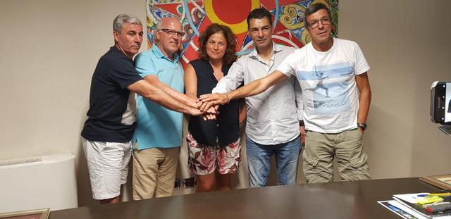 Da sinistra: Pietro Maiellaro, Totò Lopez (sarà il vice presidente), Sandro Tovalieri e Michele Armenise