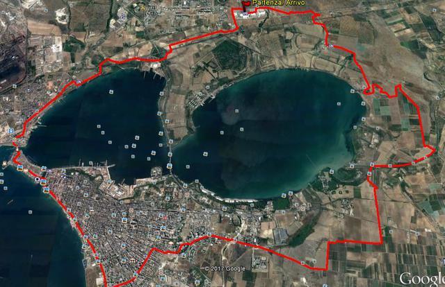 Il percorso del Colline joniche tour bike, il tour dei due mari