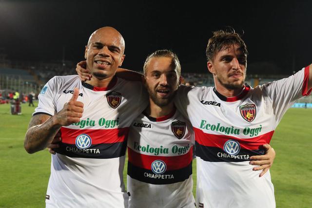 Baclet, Mungo e D'Orazio felici per la promozione in B del Cosenza - Foto Francesco Donato