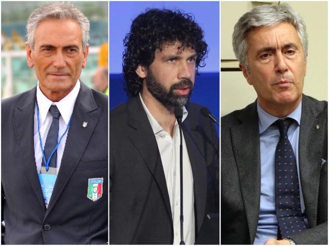 Gabriele Gravina, presidente della Serie C; Damiano Tommasi, presidente Aic, Cosimo Sibilia, presidente della Lnd