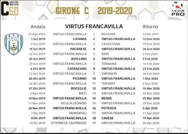 Lega Pro 2020 16 Calendario.Virtus Francavilla Calendario Esordio In Casa Con La Reggina