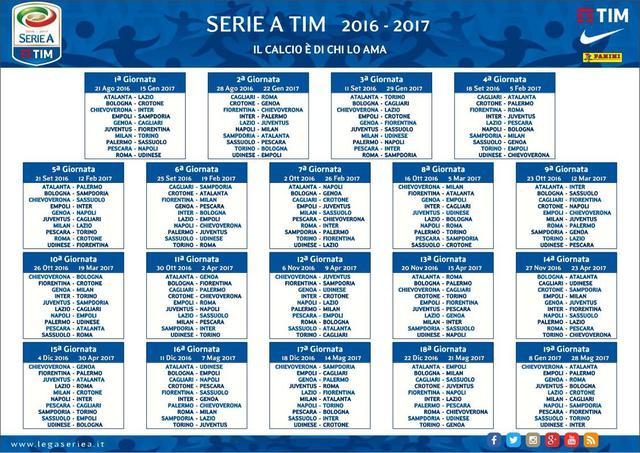 Calendario Milan Campionato.Serie A Varato Il Calendario 2016 2017
