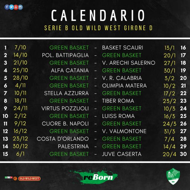 Calendario Serie A 16 Ottobre.Serie B Old Wild West 2018 19 Ecco Il Calendario