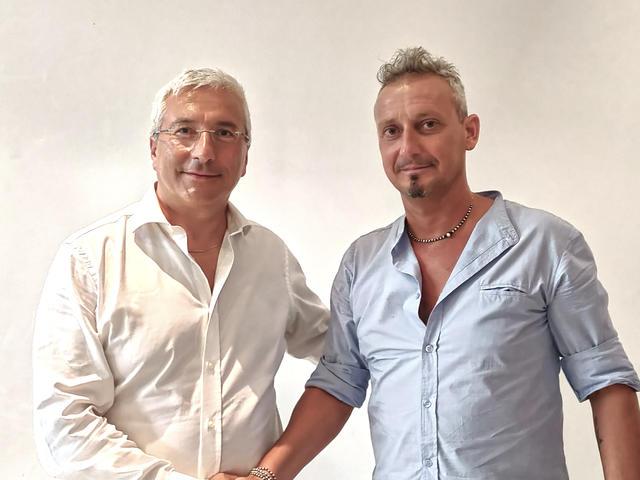 Il vicepresidente Romano con mister Antonioli
