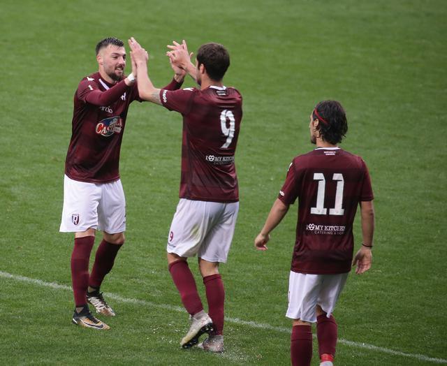 Dammacco esulta con Zamparo e Ponsat © Reggio Audace FC