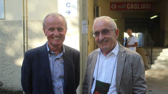Romano Amadei (a destra) assieme al ds Tosi, assente ieri a Modena