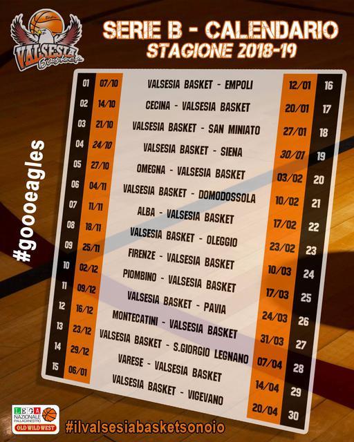 Calendario Serie B 18 19.Valsesia Basket Girone E Calendario Campionato 2018 19