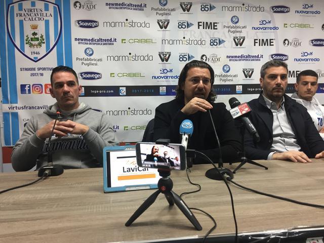 Il tecnico del Francavilla D'Agostino, il Presidente Magrì e il ds Fracchiolla