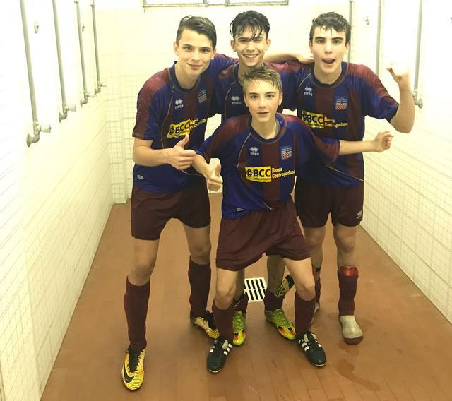 Prugnoli, Rizzo, Servidati e De Toma festeggiano la vittoria sul Piacenza